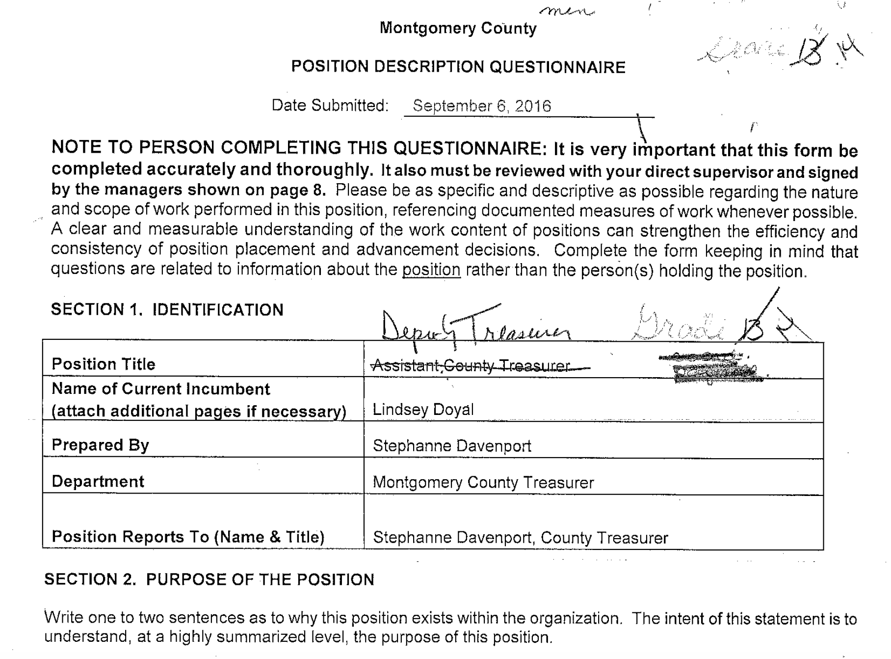 Position Description Questionnaire, Which County Treasurer Stephanne  Davenport Prepared In Order To Give The County Judgeu0027s Daughter A Promotion.