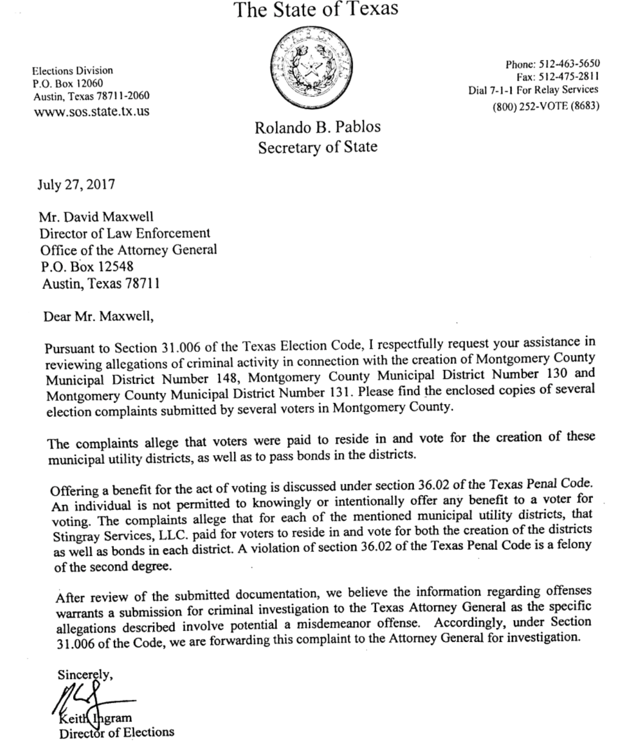 Criminal Referral Cover Letter From Texas Secretary Of State To Texas  Attorney General.