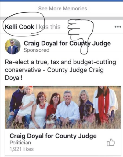 County Judge Doyal caught lying on campaign literature