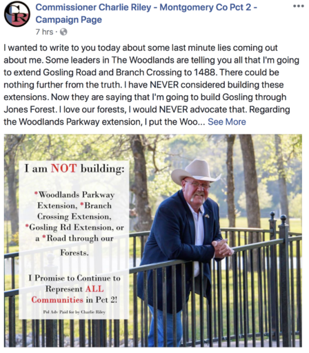 Ignorant, yet arrogant, Precinct 2 Commissioner Riley's Woodlands Parkway Extension play leaps forward during July 9 Commissioners Court embarrassment