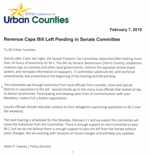 Commissioner Noack moves to release Montgomery County taxpayers from yolk of payments to taxpayer-funded lobbying group Council of Urban Counties