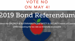 "The Golden Hammer urges Conroe ISD voters to vote ""NO"" on the $807 million bond package in May 4 election"