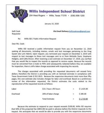 "Willis ISD attempts to charge Cook $1,710 just to examine ""drag queen"" records for purpose of ascertaining whether school district's Public Information Act documents are responsive to her request"