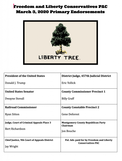 Freedom and Liberty Conservatives PAC announce endorsements for March 3 Republican Primary Election