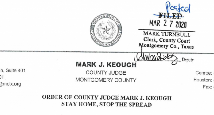 BREAKING NEWS! Montgomery County Judge Keough issues lockdown order for Montgomery effective Friday at midnight!