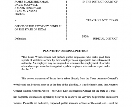 Whistleblower lawsuit against Texas Attorney General Paxton seems to fall short of facts, although contains much innuendo