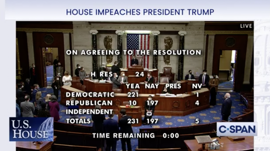 "BREAKING NEWS! U.S. House votes to impeach President Trump for ""inciting insurrection"""