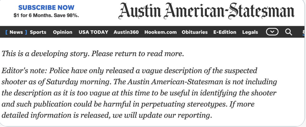 """""""Woke""""-ness interferes with news reporting Austin shooting"""