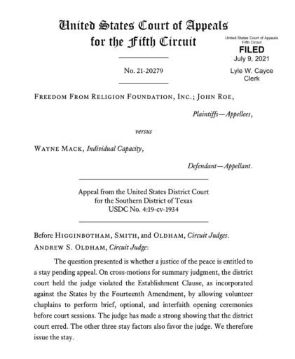 BREAKING NEWS! United States Court of Appeals for Fifth Circuit allows Judge Mack to continue chaplain invocation in court proceedings during pendency of appeal